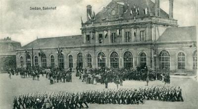 Bahnhof Sedan, carte postale allemande (photomontage) Collection Musée de Sedan