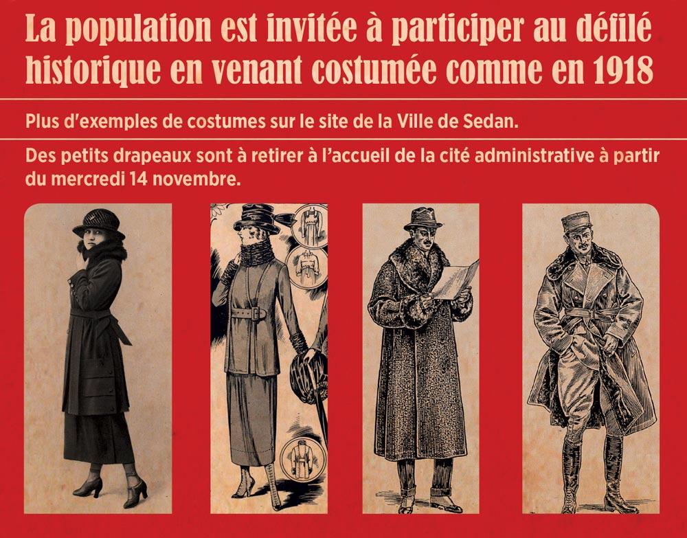 Commémoration en costumes de 1918 pour l'anniversaire de la libération de Sedan