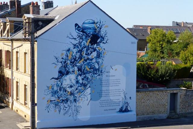 Tête de faune, fresque du parcours Rimbaud